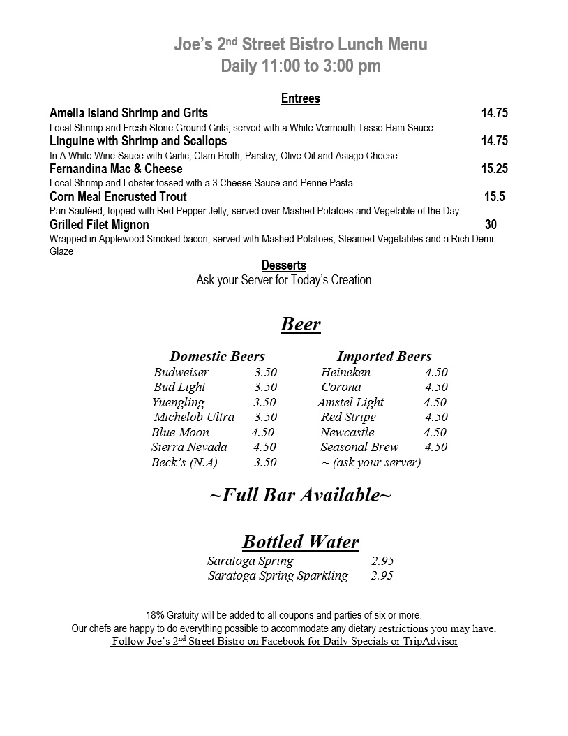 Joe's 2nd Street Bistro Lunch Menu